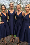 Elegant A-Line V-Neck Sleeveless Hi-Low Navy Blue Satin Bridesmaid Dress