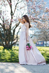 Elegant A-Line Halter Satin Long Sleeveless Backless Pink with Pockets Evening Dresses