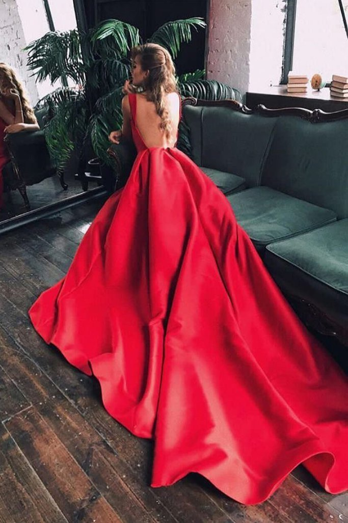 Elegant A-Line Red Simple Cheap Round Neck Cap Sleeve Backless Long Prom Dresses