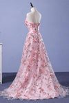 Pink A-line Sweetheart Strapless Sweep Train Floral Print Long Lace Prom Dresses with flowers