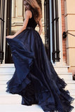 Gorgeous A Line Open Back Sleeveless With Split Side Dark Blue V Neck Prom Dresses