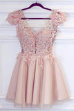 Cute Satin Pink Deep V Neck Appliques Short Prom Dresses Homecoming Dresses
