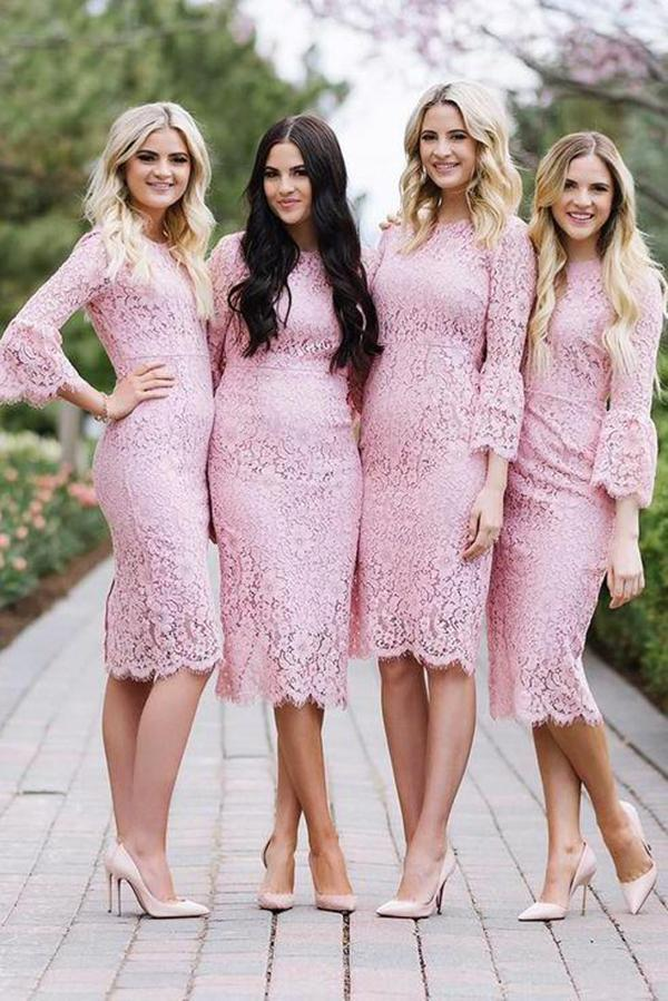 Fashion Sheath Jewel Mermaid Long Sleeves Pink Lace Knee Length Bridesmaid Dress