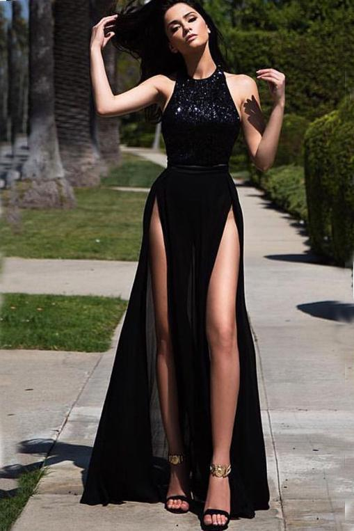Elegant Hater Sexy High Side Slit Black Chiffon Sequins Long Prom Dresses
