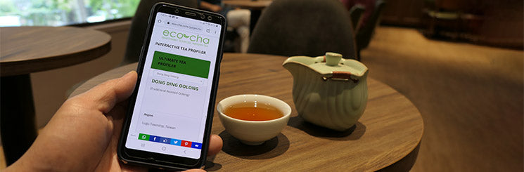 Eco-Cha Teas Interactive Tea Tool on a cellphone