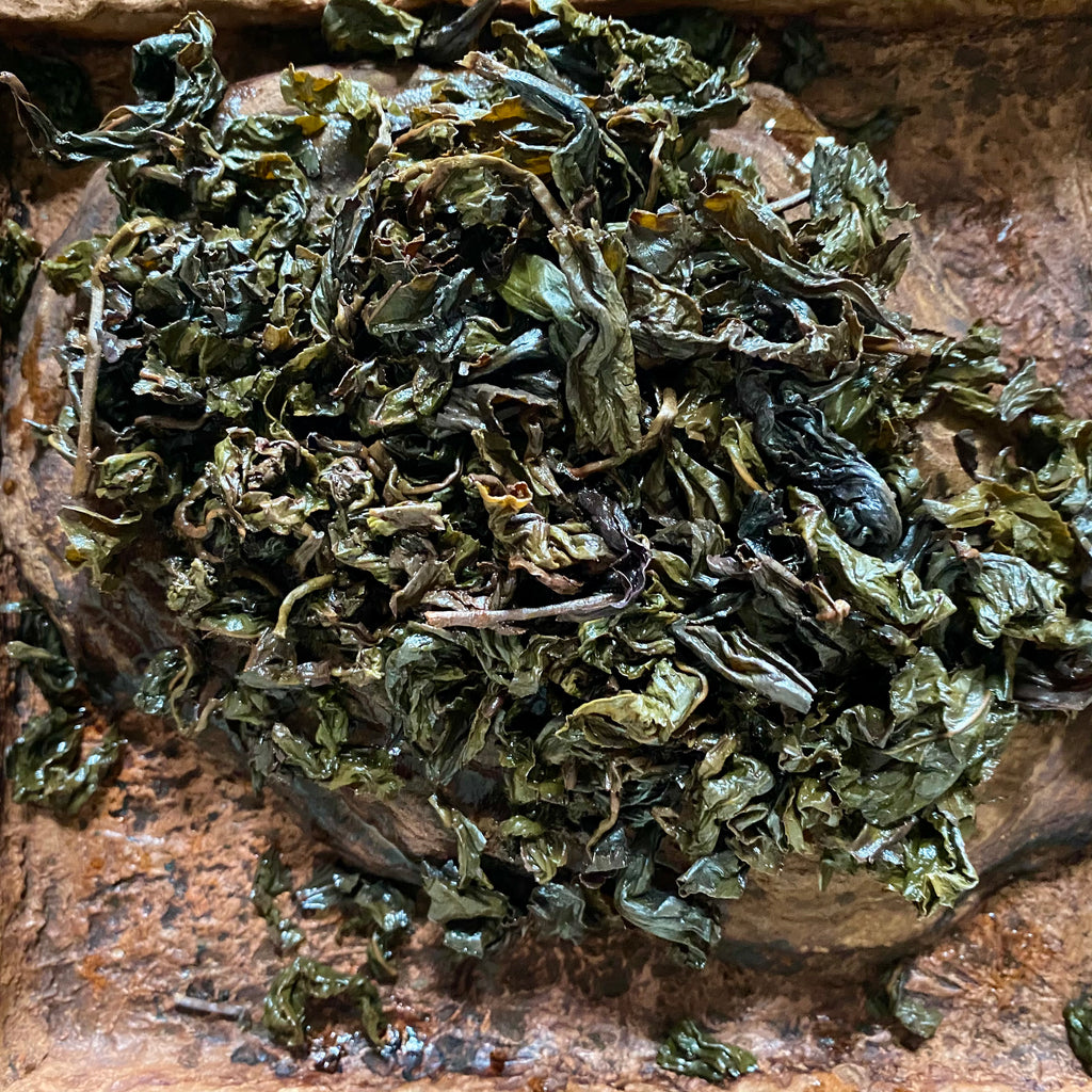 Eco-Farmed Specialty Roast Oolong brewed tea leaves