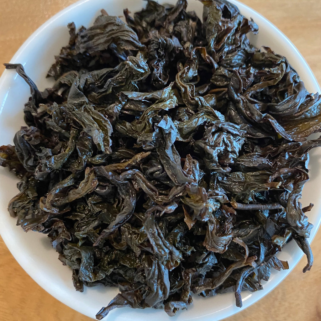 Competition Grade Tie Guan Yin Oolong brewed tea leaves