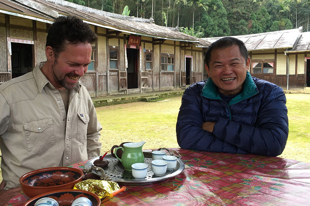 Eco-Cha's Andy Kincart having tea with a tea farmer