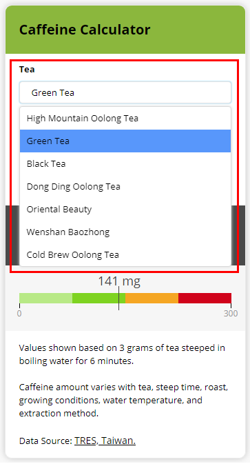Caffeine Calculator Tea Selection