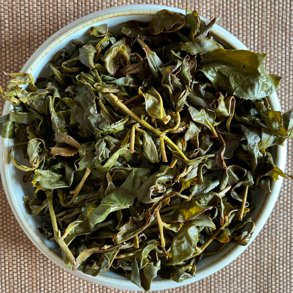 Traditional Dong Ding Oolong Tea brewed leaves
