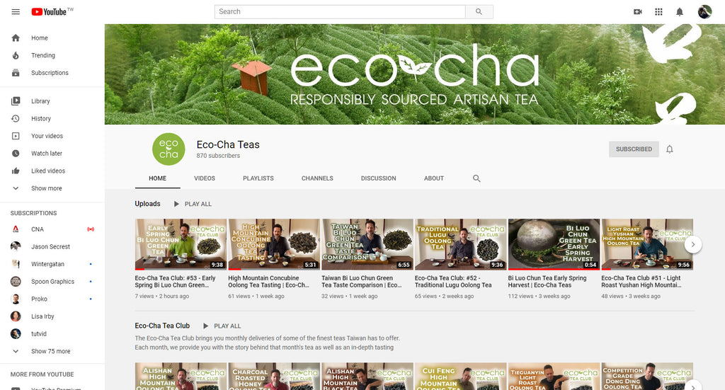 Eco-Cha Teas YouTube Channel