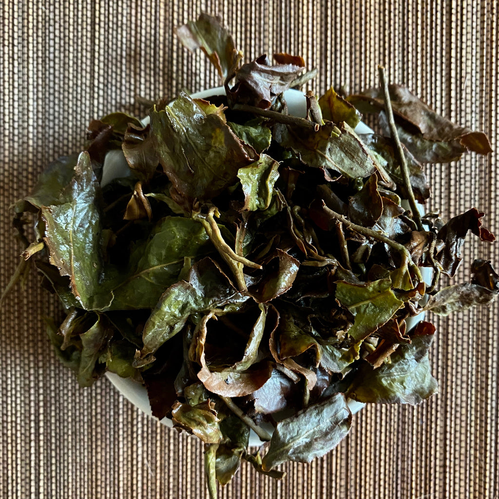Hong Shui Oolong brewed tea leaves