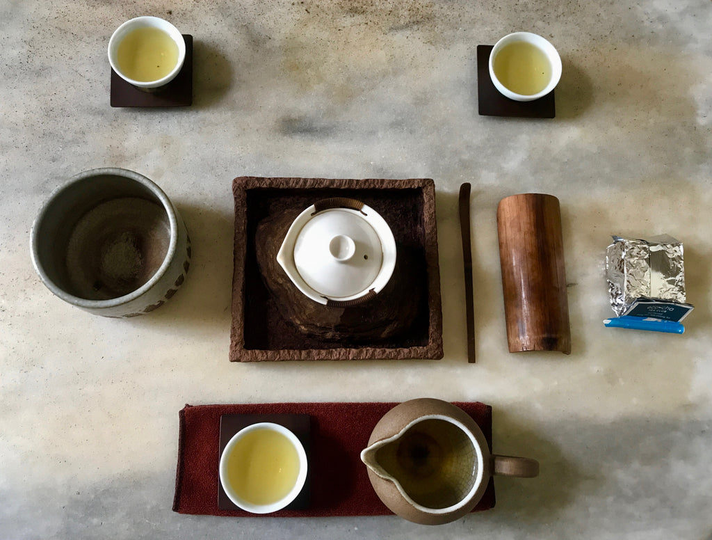 Eco-Farmed Dong Pian Jade Oolong Tea brewed and served Gongfu style