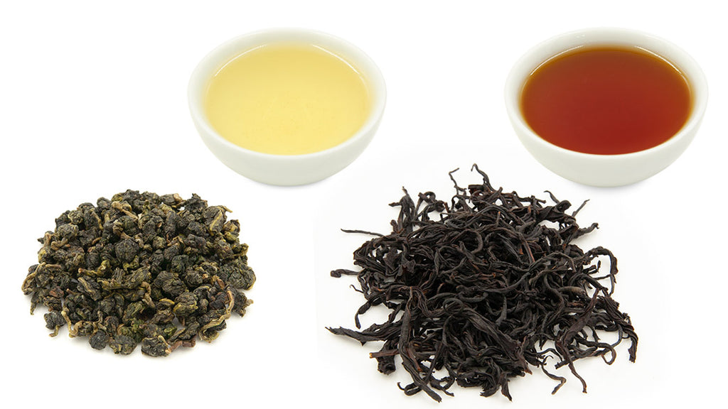 Jin xuan oolong tea (on left) is lightly oxidized. Red jade black tea (on right) is heavily oxidized.