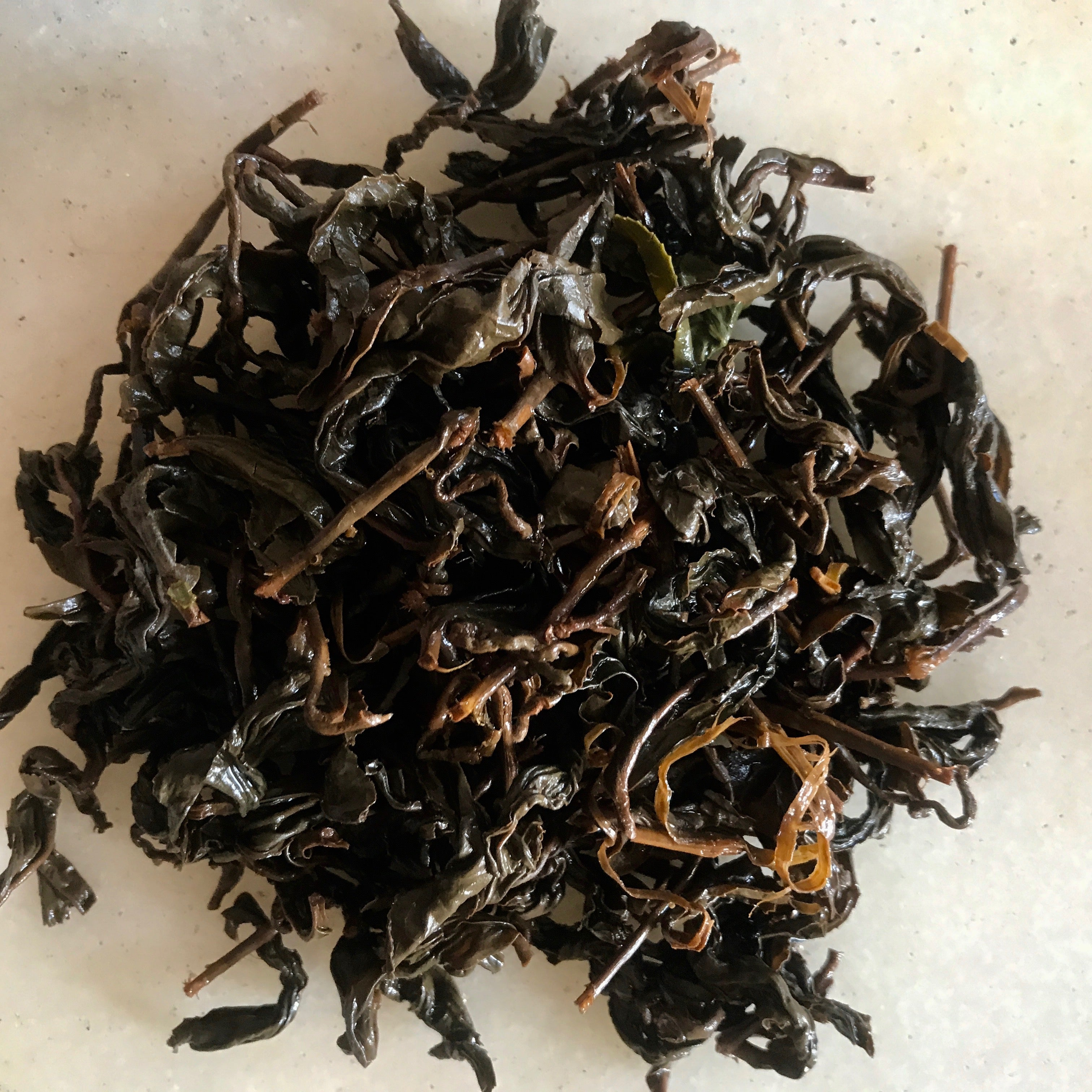Qing Xin Oolong Tea leaves after brewing