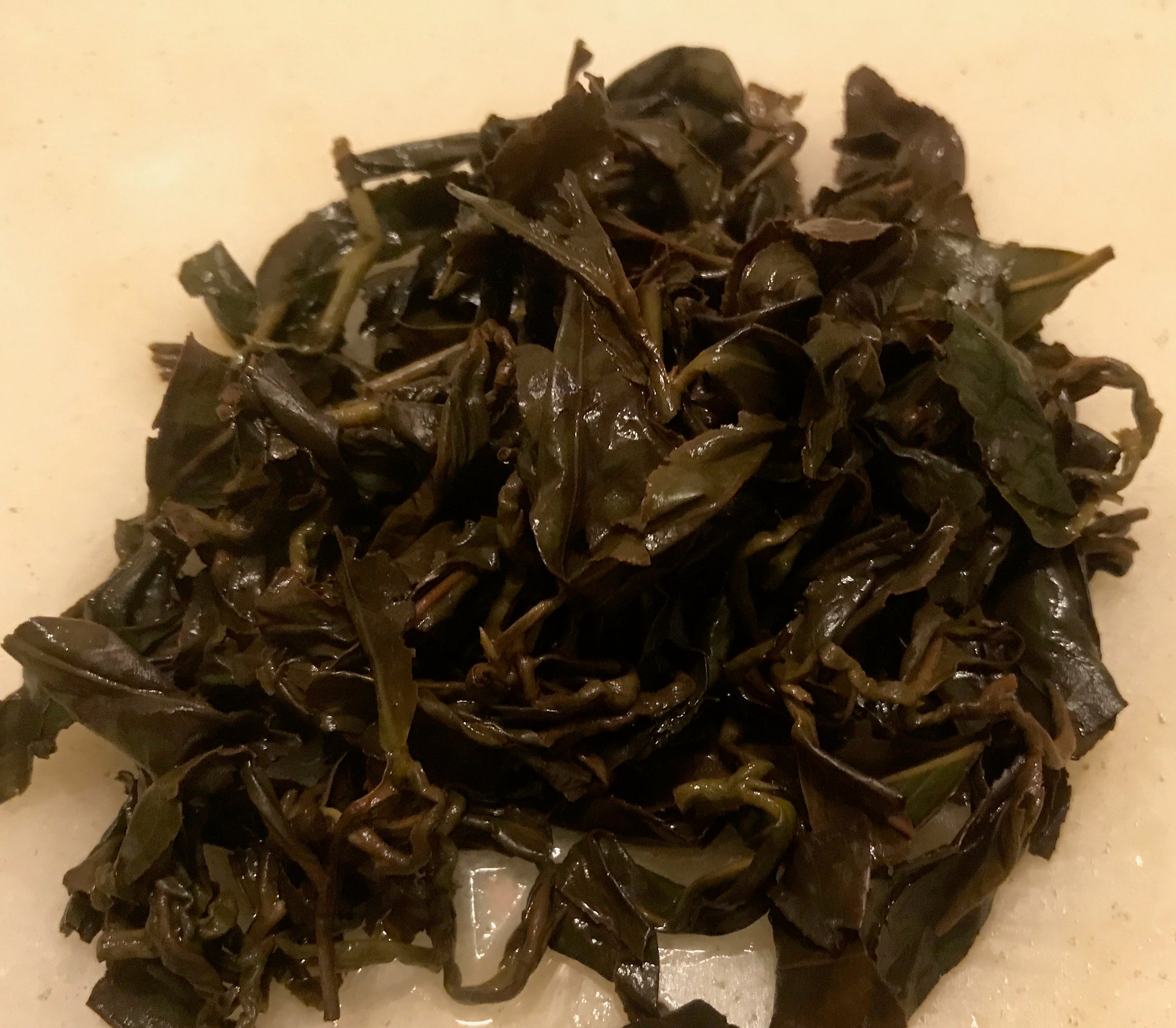 wet oolong tea leaves