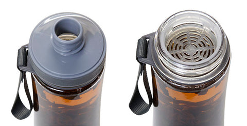 Eco-Cha cold brew tea bottle has a convenient sippy spout and a mesh insert to keep tea leaves inside the bottle.