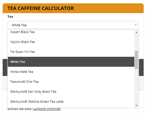 Eco-Cha Caffeine Calculator White Tea