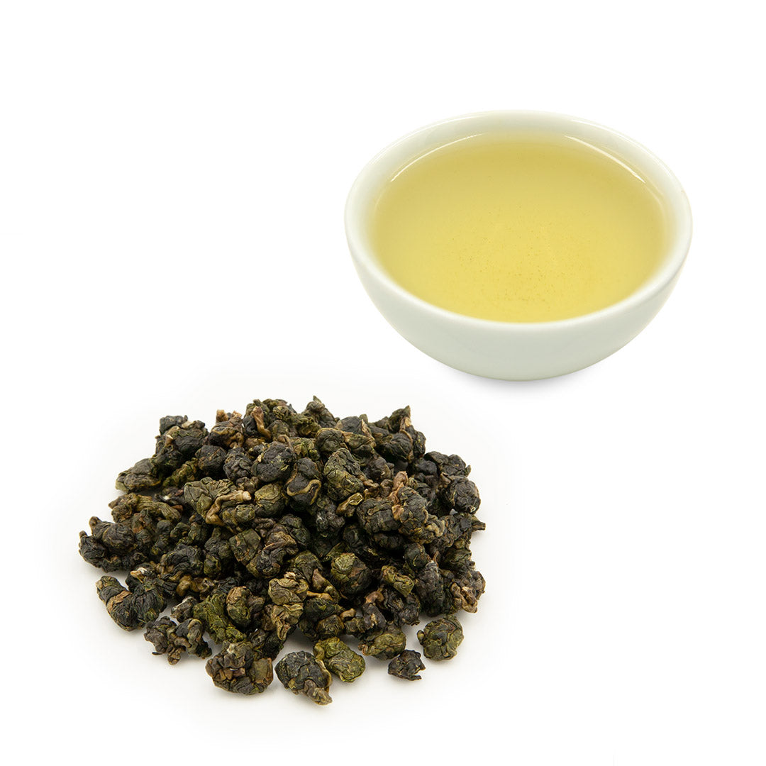 Alishan High Mountain Jin Xuan Oolong Tea and leaves