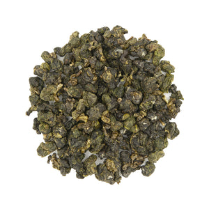 Alishan High Mountain Jin Xuan Oolong Tea, top view