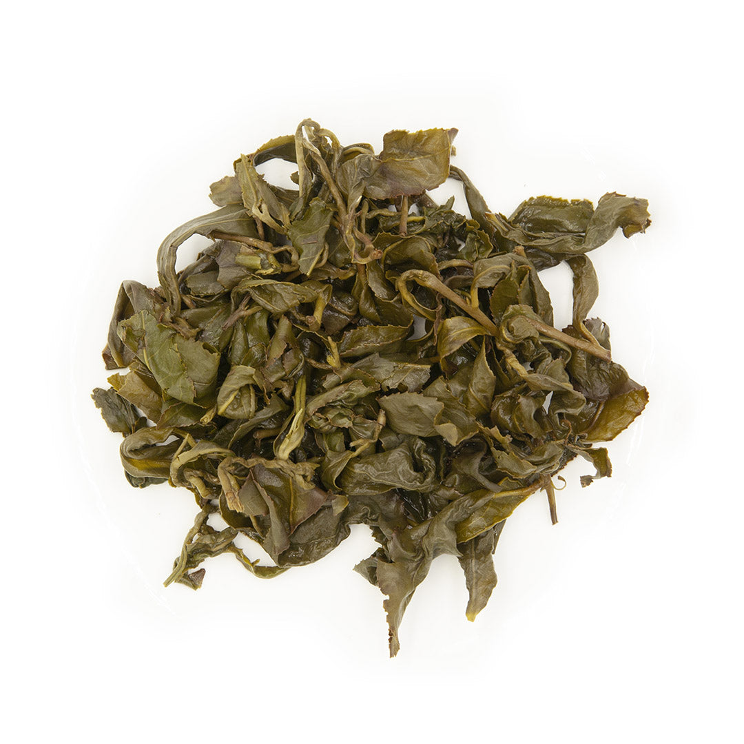 Eco-Cha Alishan High Mountain Oolong Tea, wet leaves