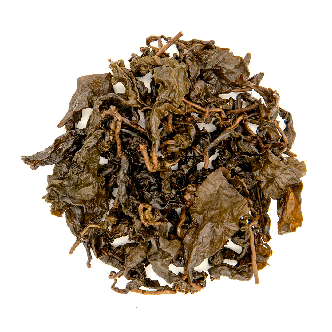 Charcoal Roasted High Mountain Oolong Tea, wet leaves top down view