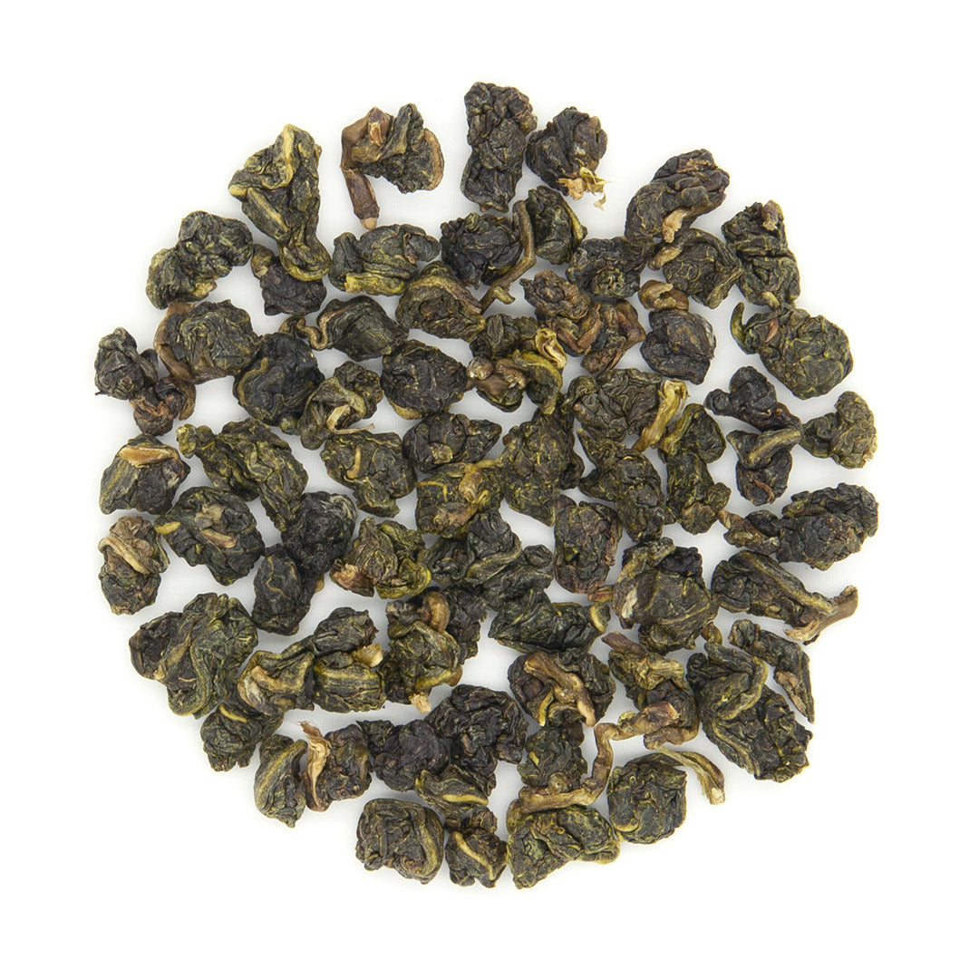 Eco-Farmed Four Seasons Spring Oolong Tea, dry tea leaves. By Eco-Cha Teas.