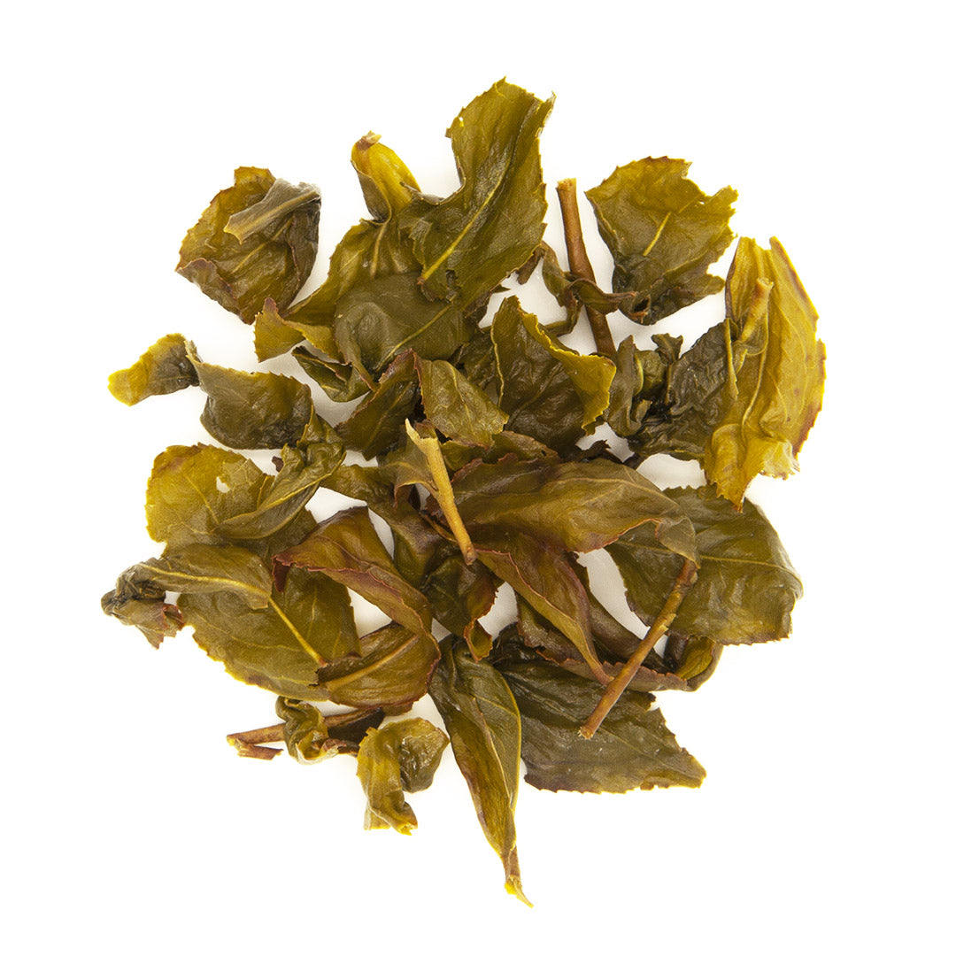 Eco-Farmed Four Seasons Spring Oolong Tea, wet, brewed tea leaves.