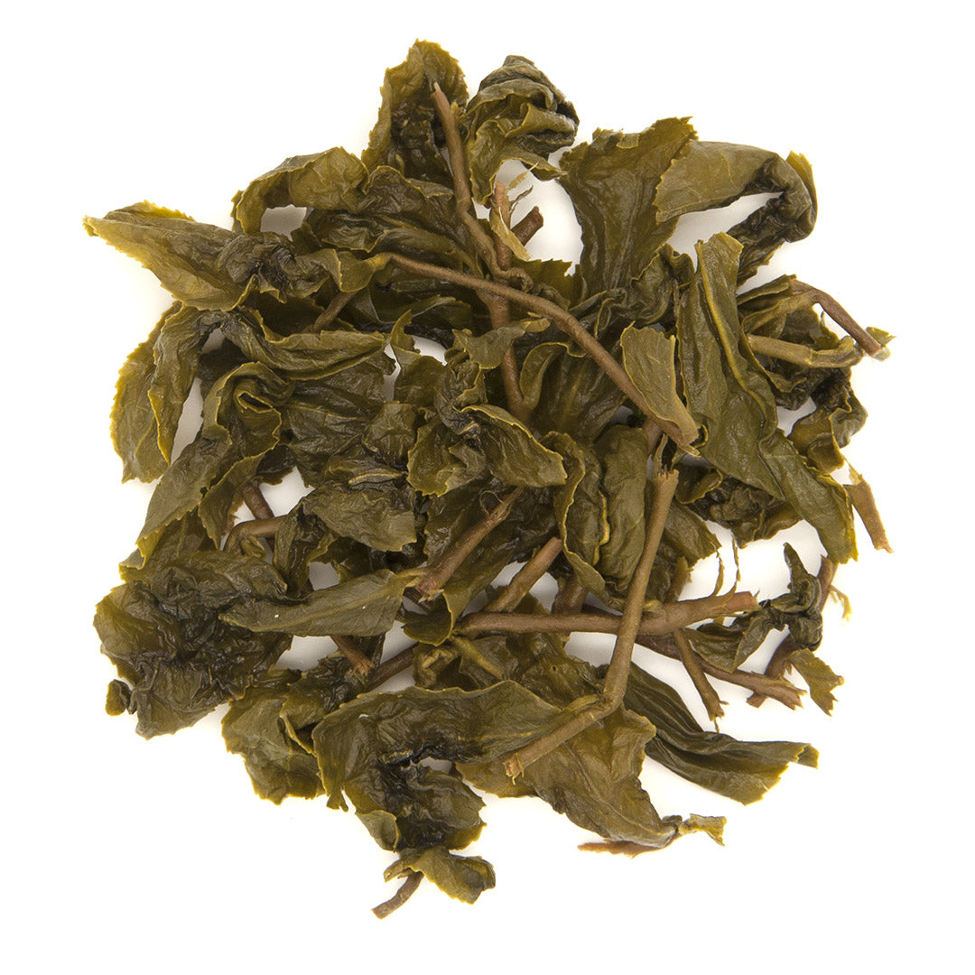 Eco-Farmed Green Tea brewed leaves viewed from top