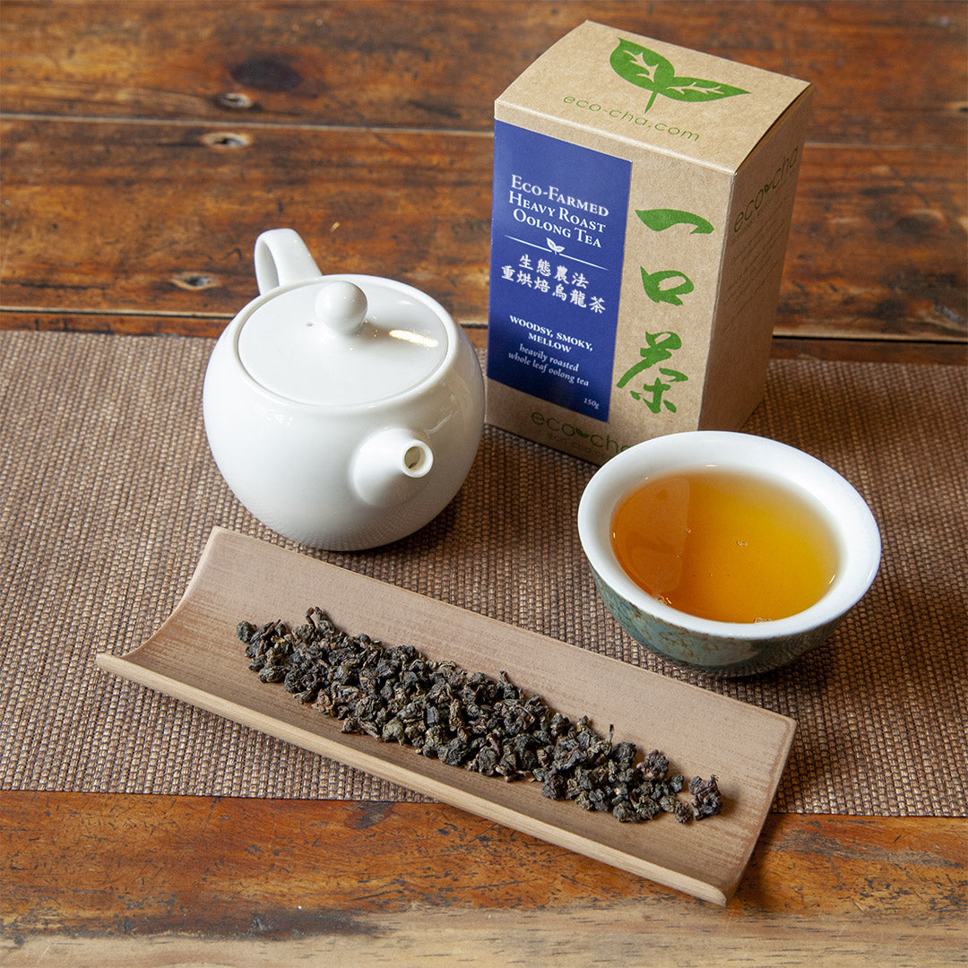 Eco-Farmed Heavy Roast Oolong Tea on table