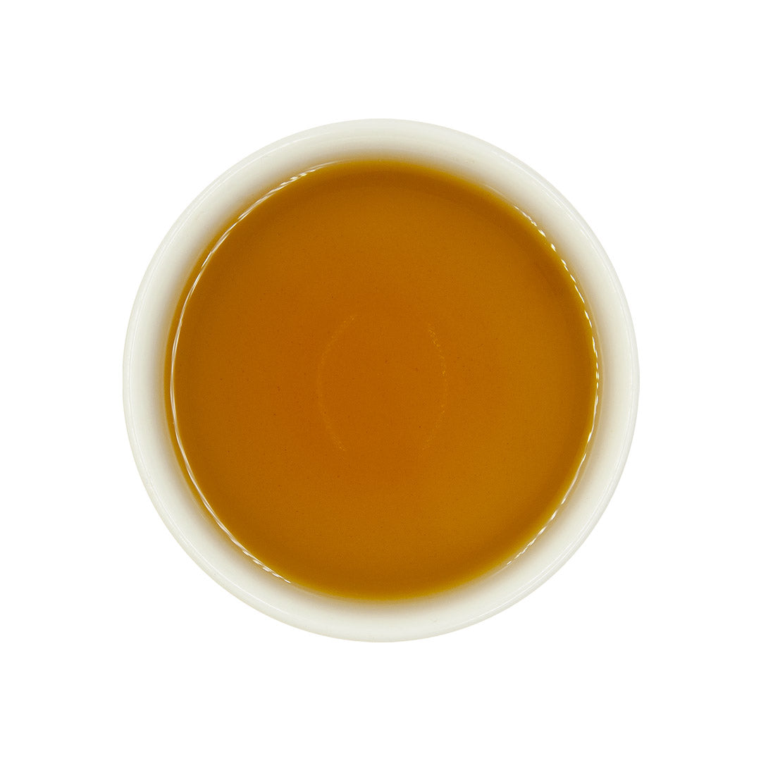 Eco-Farmed Heavy Roast Oolong Tea, brewed top view