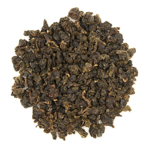 Eco-Farmed Heavy Roast Oolong Tea, dry leaves top view