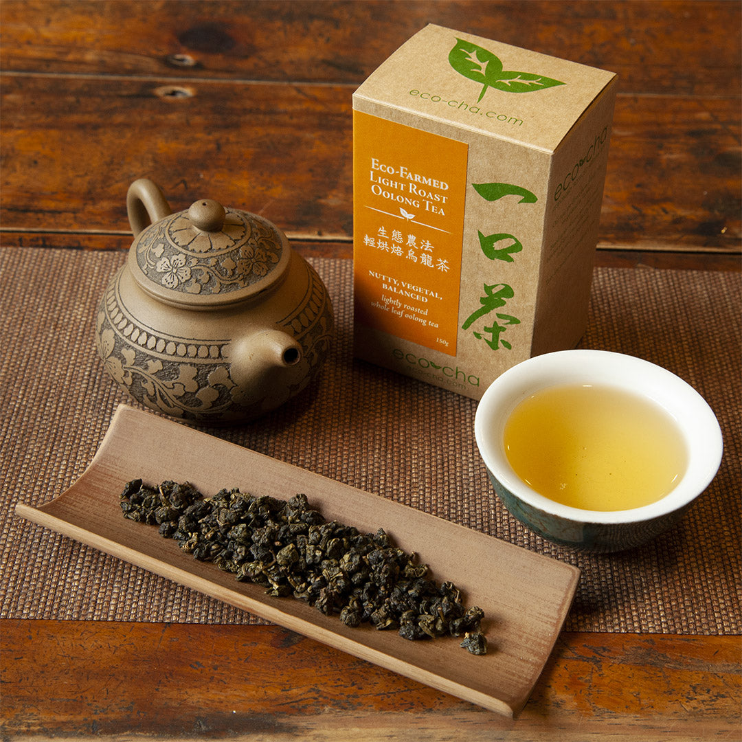 Eco-Farmed Light Roast Oolong Tea on table