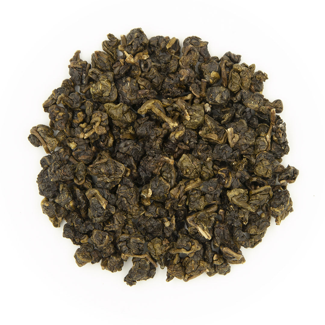 Eco-Farmed Light Roast Oolong Tea, dry leaves top view