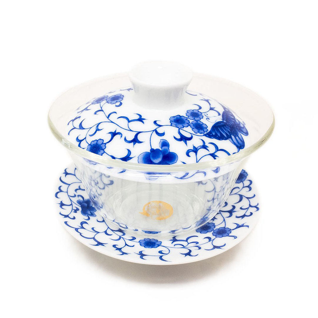 Eco-Cha Colored Lid and Saucer Gaiwan - Chinese Pattern