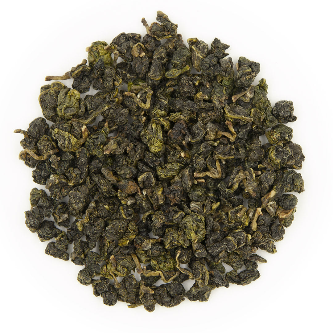 Jin Xuan Oolong Tea, dry leaves top view