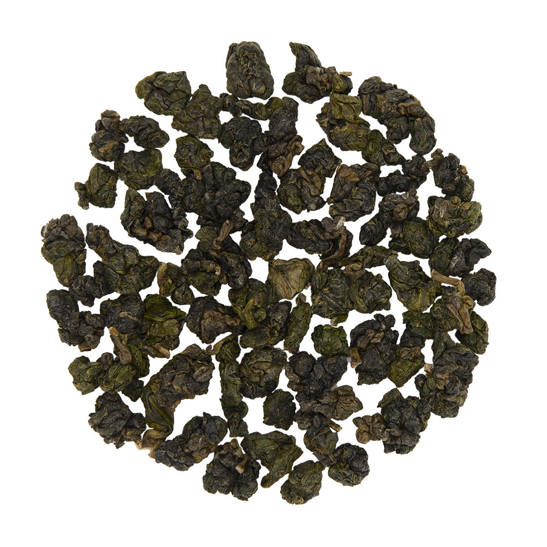 Li Shan High Mountain Oolong Tea, dry leaves top view