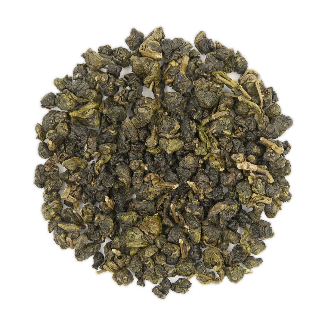 Shan Lin Xi High Mountain Oolong Tea, dry leaves top view