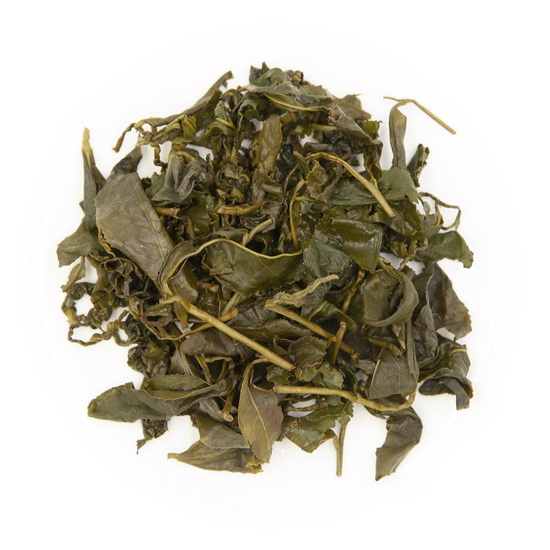 Shan Lin Xi High Mountain Oolong Tea, wet leaves