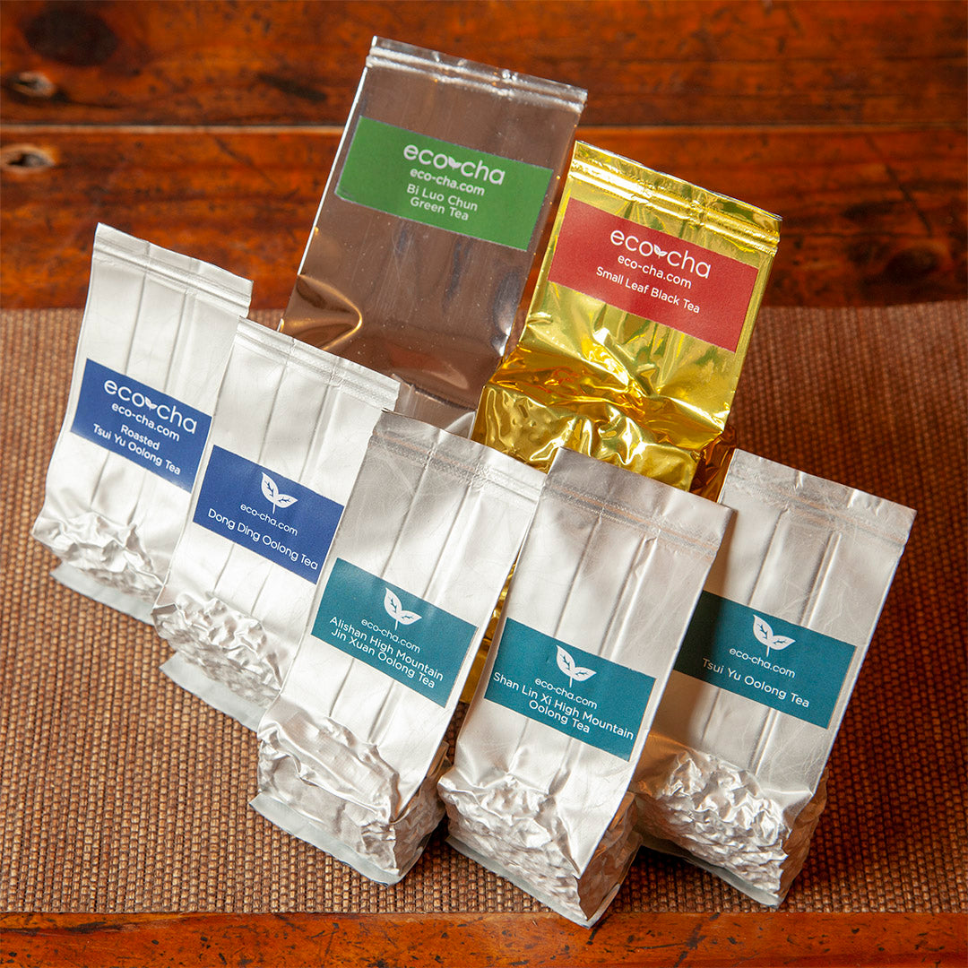 The seven types of Taiwan Tea that comes with the Taiwanese Tea Sampler from Eco-Cha Teas