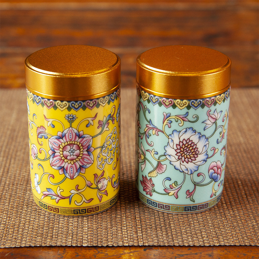 Yellow and blue ceramic tea caddy