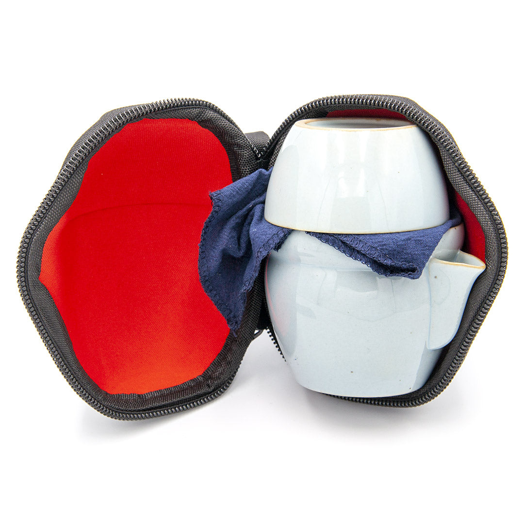 Travel tea set inside case