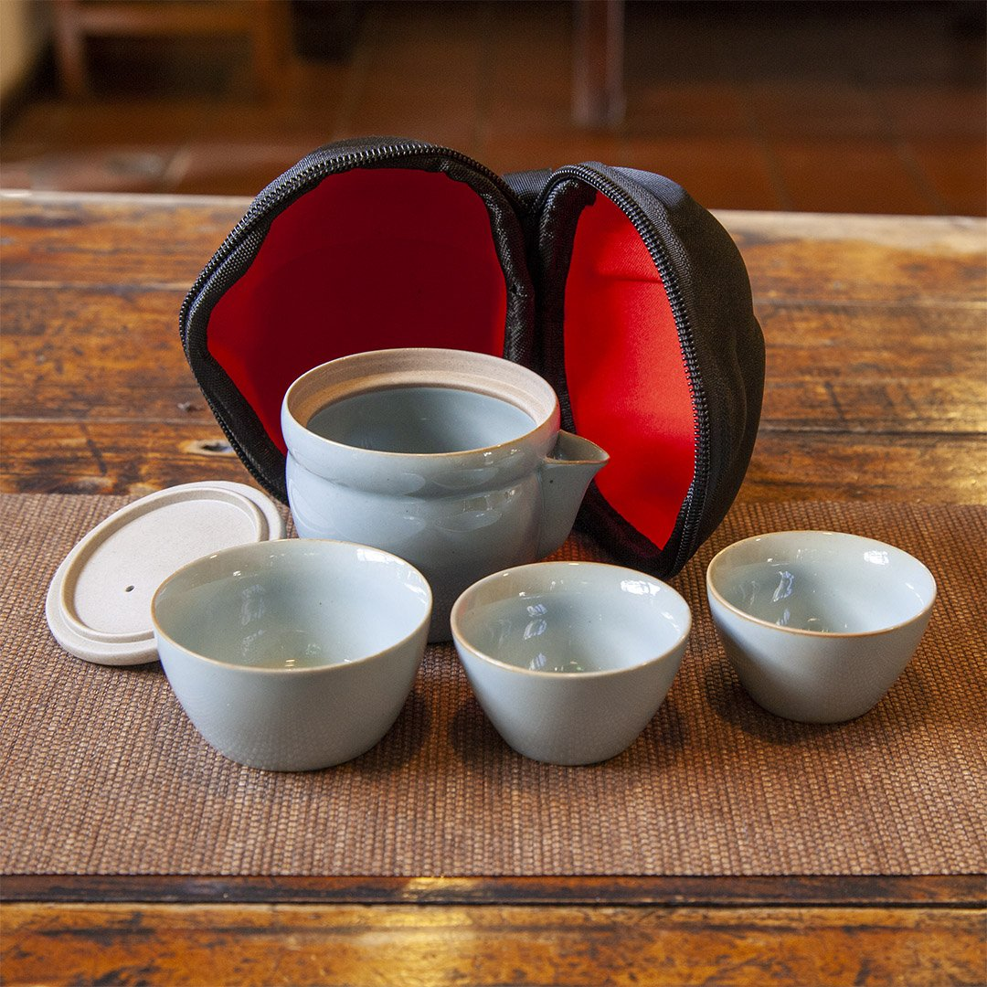 Travel tea set on table