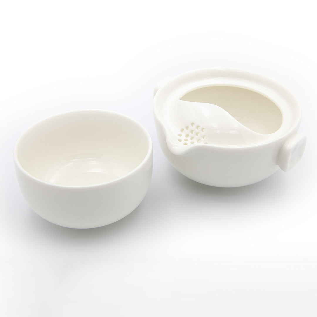 White porcelain single brew teapot and cup open