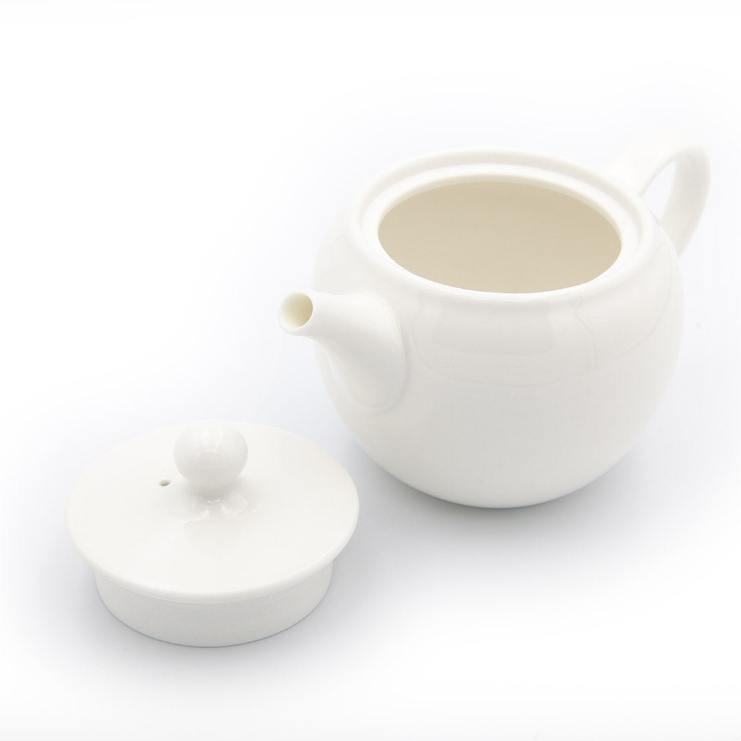 White porcelain gong-fu teapot with lid off