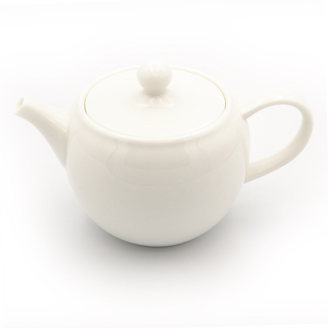 White porcelain gong fu teapot on white background