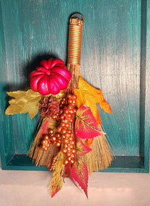 Metallic Pumpkin Autumn Besom