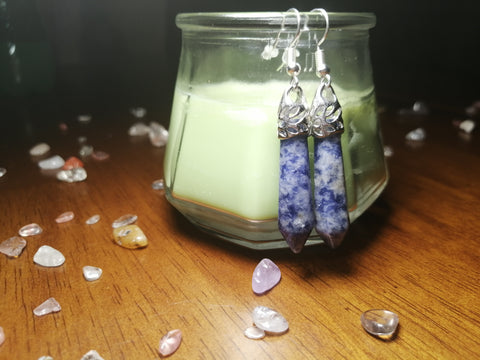 Sodalite Crystal Dangle Earrings