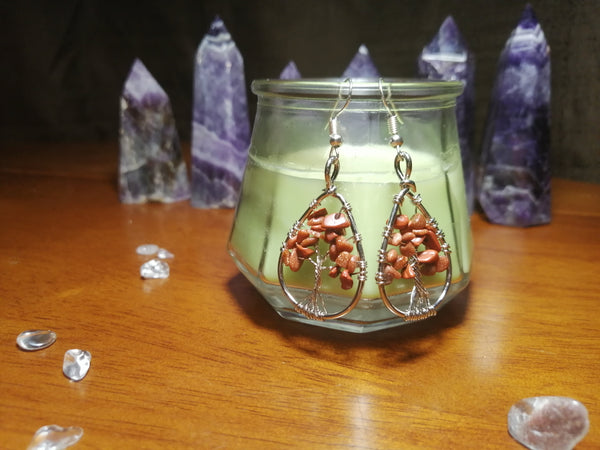 SALE: Goldstone Tree of Life Wire Wrapped Earrings