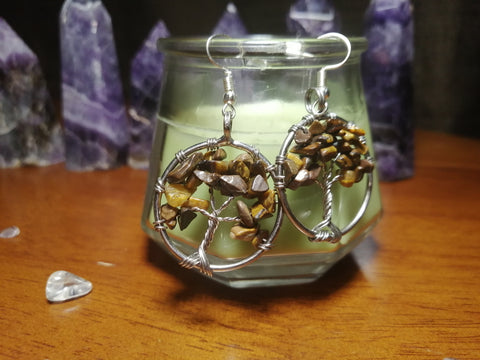 SALE: Tiger's Eye Tree of Life Wire Wrapped Earrings